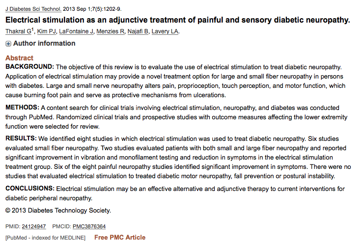 pubmed diabetes electrotherapy